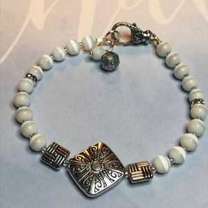 Silver and White Cats Eye Bracelet